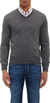 Brunello Cucinelli Men's Tipped V-neck Sweater - Gray
