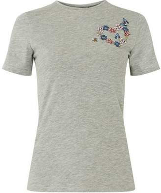 Dorothy Perkins Womens Trees for Cities Grey Heart Embroidered T-Shirt
