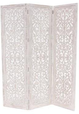 DecMode Decmode 69 X 60 Inch Rustic Wood Whitewashed 3-Panel Screen, White