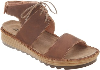 Naot Footwear Leather Lace-Up Wedge Sandals - Alpicola