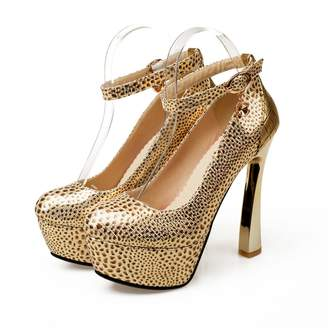 Mini Women's High Heeled Ankle Strap Round-Toe Leopard Print Stiletto Pumps(10.5 )