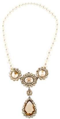 Miu Miu Faux Pearl & Crystal Collar Necklace