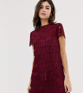 Oasis shift dress with lace and fringing red