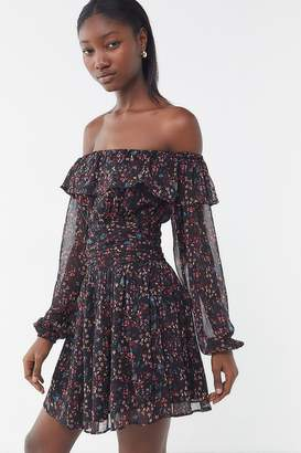 Urban Outfitters Elaine Floral Off-The-Shoulder Mini Dress