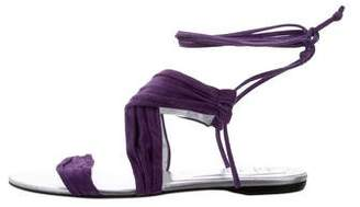 Roger Vivier Lace-Up Suede Sandals