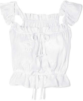 Innika Choo - Embroidered Linen Top - White