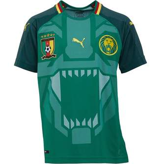 Puma Junior Boys FCF Cameroon Home Replica Shirt Power Green/June Bug