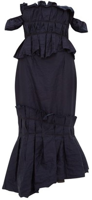 Brock Collection Piermaria Ruched Chambray Dress - Womens - Navy