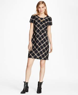 Brooks Brothers Windowpane Wool Boucle Shift Dress