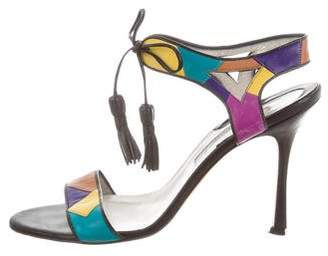 Brian Atwood Lace-Up Leather Sandals