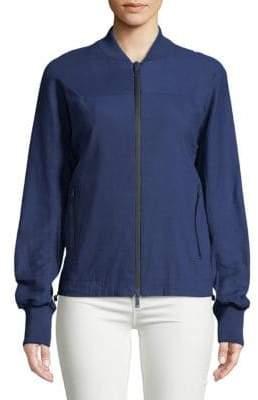 Donna Karan Linen-Blend Bomber Jacket