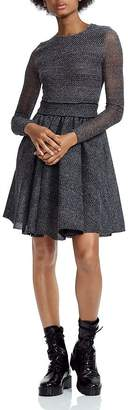 Maje Royale Mesh-Inset Fit-and-Flare Mini Dress