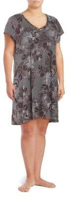 Lord & Taylor Plus Floral-Print Cotton Nightshirt