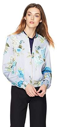 Daisy Drive Women's Floral and Stripe Printed Bomber Jacket