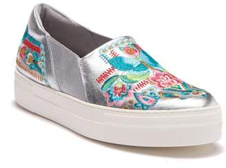 Johnny Was Vinny Butterfly Embroidered Leather Slip-On Sneaker