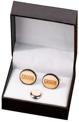Lillian Rose Groom Wood Cufflinks and Tie Tack Set