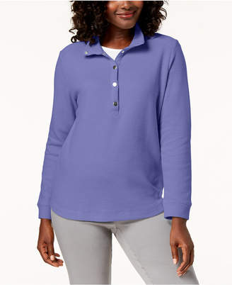 Karen Scott Convertible Snap-Collar Top