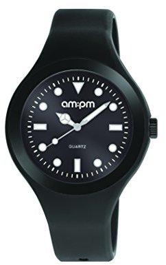 Am.pm. Am : Pmユニセックスpm143-u258アルミニウムラバーケースブラックゴム製ストラップクォーツ腕時計