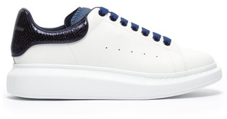Alexander McQueen Raised Sole Low Top Leather Trainers - Mens - Navy White