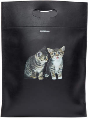 Balenciaga Black Small Kitten Plastic Bag Shopper Tote