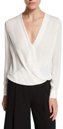 Diane von Furstenberg Marci Surplice Wrap Silk Blouse, Ivory $298 thestylecure.com