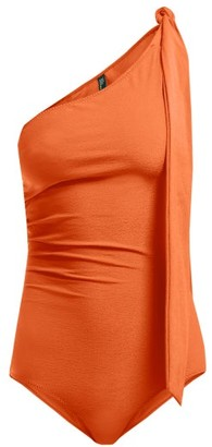 Lisa Marie Fernandez Arden One Shoulder Ruched Swimsuit - Womens - Orange