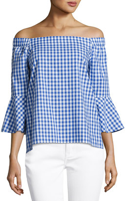 Neiman Marcus Off-the-Shoulder Gingham Blouse, Blue/White $49 thestylecure.com