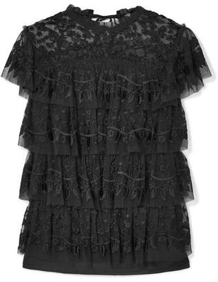 Needle & Thread Tiered Embroidered Tulle Top - Black