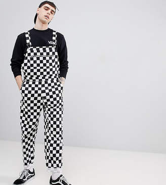 Reclaimed Vintage inspired checkerboard overall