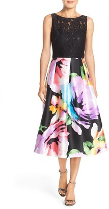Women's Ellen Tracy Mixed Media Fit & Flare Midi Dress $188 thestylecure.com