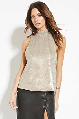 FOREVER 21 Contemporary Mock Neck Sequin Top $22.90 thestylecure.com