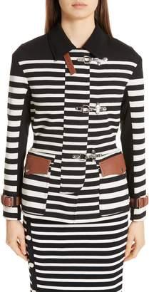 Altuzarra Leather Detail Stripe Jacket