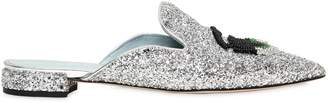 Chiara Ferragni 10mm Beaded Flirting Eyes Glitter Mules