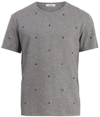 Valentino Eyelet Embellished Cotton Blend T Shirt - Mens - Grey