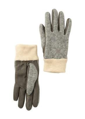 UGG Touch Screen Compatible Faux Fur Lined Leather Trimmed Gloves