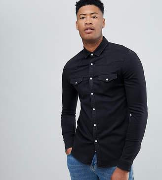 Asos DESIGN Tall skinny western denim shirt in black