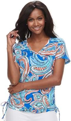 Caribbean Joe Women's Print Ruched Tee