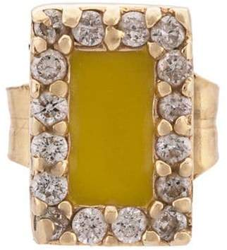 Alison Lou 14kt yellow gold, yellow enamel and diamond stud