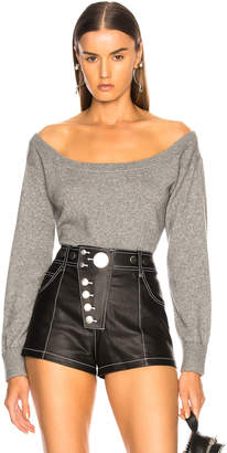 Alexander Wang Fitted Cropped Sweater in Heather Grey | FWRD