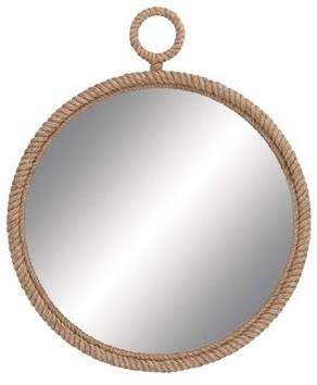 GwG Outlet Traditional And Lovely Inspired Round Wood Mirror Gold Bronze Rope Home Decor