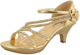 903b05f178f038 Delicacy Shoes Delicacy Womens Strappy Rhinestone Dress Sandal Low Heel  Shoes Heeled Sandals