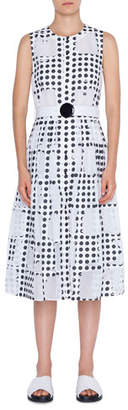Akris Punto Scoop-Neck Window Dot Belted A-Line Dress