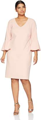 Ronni Nicole Women's Plus Size 3/4 Sleeve Pearl Trim Sheath Dress