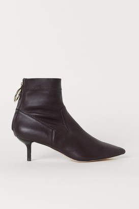 H&M Leather Ankle Boots - Red