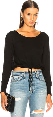 Enza Costa Long Sleeve Drawcord Scoop Top