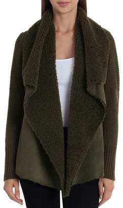 Bagatelle Draped Faux-Shearling Sweater Jacket