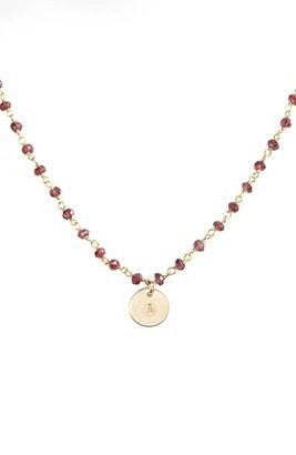 Women's Nashelle 14K-Gold Fill Mini Initial Disc Garnet Chain Necklace $110 thestylecure.com