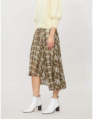 Maje Jungo checked chiffon skirt
