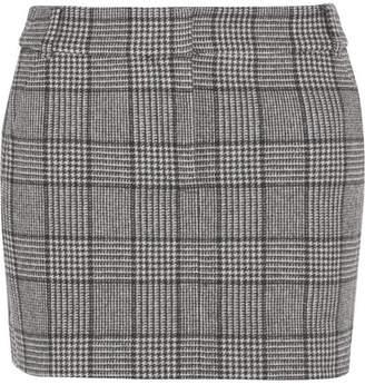 Tibi Aldridge Checked Wool-blend Tweed Mini Skirt - Black