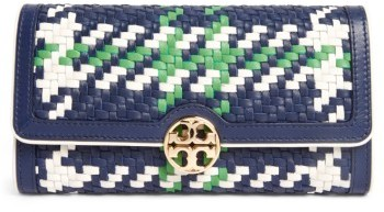 Tory Burch Women's Tory Burch Duet Chain Woven Leather Continental Wallet - Blue
